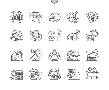 Photo pour Home Insurance Well-crafted Pixel Perfect Vector Thin Line Icons 30 2x Grid for Web Graphics and Apps. Simple Minimal Pictogram - image libre de droit