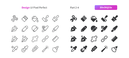 Illustration pour Graphic Design UI Pixel Perfect Well-crafted Vector Thin Line And Solid Icons 30 3x Grid for Web Graphics and Apps. Simple Minimal Pictogram Part 2-4 - image libre de droit