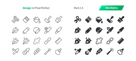 Illustration pour Graphic Design UI Pixel Perfect Well-crafted Vector Thin Line And Solid Icons 30 1x Grid for Web Graphics and Apps. Simple Minimal Pictogram Part 2-4 - image libre de droit