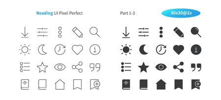 Illustration pour Reading UI Pixel Perfect Well-crafted Vector Thin Line And Solid Icons 30 2x Grid for Web Graphics and Apps. Simple Minimal Pictogram Part 1-3 - image libre de droit