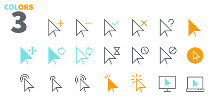 Illustration pour Selection & Cursors UI Pixel Perfect Well-crafted Vector Thin Line Icons 48x48 Ready for 24x24 Grid for Web Graphics and Apps with Editable Stroke. Simple Minimal Pictogram Part 1-3 - image libre de droit