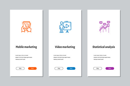 Illustration pour Mobile marketing, Video marketing, Statistical analysis onboarding screens with strong metaphors - image libre de droit