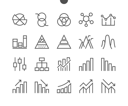 Illustration for Charts UI Pixel Perfect Well-crafted Vector Thin Line Icons 48x48 Grid for Web Graphics and Apps. Simple Minimal Pictogram - Royalty Free Image