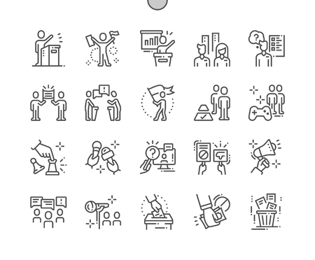 Illustration pour Naked politics Well-crafted Pixel Perfect Vector Thin Line Icons 30 2x Grid for Web Graphics and Apps. Simple Minimal Pictogram - image libre de droit