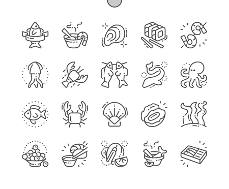 Illustration pour Seafood Well-crafted Pixel Perfect Vector Thin Line Icons 30 2x Grid for Web Graphics and Apps. - image libre de droit