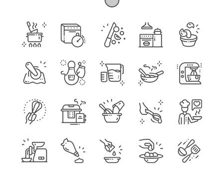 Illustration pour Kitchen Well-crafted Pixel Perfect Vector Thin Line Icons 30 2x Grid for Web Graphics and Apps. Simple Minimal Pictogram - image libre de droit