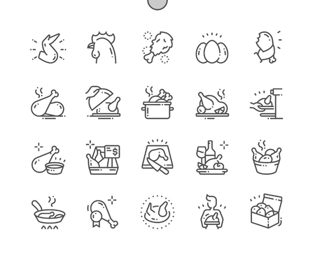 Illustration for Chicken Well-crafted Pixel Perfect Vector Thin Line Icons 30 2x Grid for Web Graphics and Apps. Simple Minimal Pictogram - Royalty Free Image
