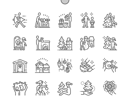 Photo for Family decorates the Christmas home Well-crafted Pixel Perfect Vector Thin Line Icons 30 2x Grid for Web Graphics and Apps. Simple Minimal Pictogram - Royalty Free Image