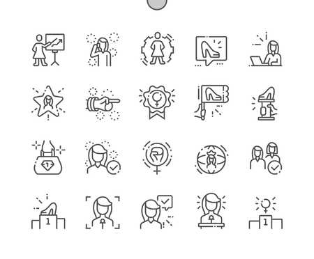 Illustrazione per Female Leaders Well-crafted Pixel Perfect Vector Thin Line Icons 30 2x Grid for Web Graphics and Apps. Simple Minimal Pictogram - Immagini Royalty Free