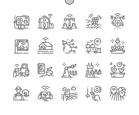 Ilustración de Smart Farm Well-crafted Pixel Perfect Vector Thin Line Icons 30 2x Grid for Web Graphics and Apps. Simple Minimal Pictogram - Imagen libre de derechos