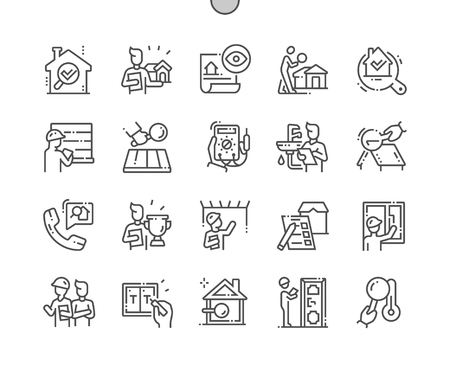 Illustration for Home inspections Well-crafted Pixel Perfect Vector Thin Line Icons 30 2x Grid for Web Graphics and Apps. Simple Minimal Pictogram - Royalty Free Image