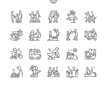 Ilustración de Family outdoor recreation Well-crafted Pixel Perfect Vector Thin Line Icons 30 2x Grid for Web Graphics and Apps. Simple Minimal Pictogram - Imagen libre de derechos