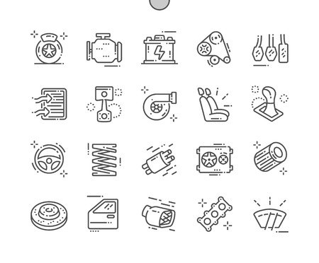 Illustration pour Auto parts Well-crafted Pixel Perfect Vector Thin Line Icons 30 2x Grid for Web Graphics and Apps. Simple Minimal Pictogram - image libre de droit