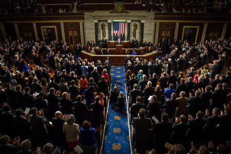 Photo pour WASHINGTON D.C., USA - Sep 18, 2014: Speech by President of Ukraine Petro Poroshenko at the joint session of the Senate and House of Representatives in Washington, DC (USA) - image libre de droit