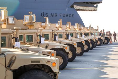 Photo pour KIEV, UKRAINE - Mar. 25, 2015: American armored vehicles HMMWV (Humvee) at Borispol International Airport in Kiev - image libre de droit