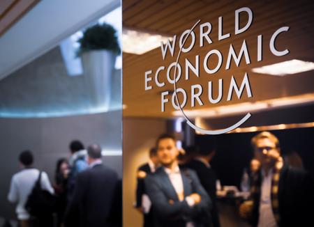 Foto per DAVOS, SWITZERLAND - Jan 24, 2019: Working moments during World Economic Forum Annual Meeting in Davos, Switzerland - Immagine Royalty Free