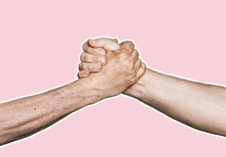 Photo for Handshaking. Man's handshake. Magazine style collage with copy space. Abstract creative background - Royalty Free Image