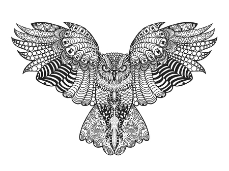 Ilustración de Birds. Black white hand drawn doodle. Ethnic patterned vector illustration. African, indian, totem, tribal, design. Sketch for avatar, adult antistress coloring page, tattoo, poster, print, t-shirt - Imagen libre de derechos
