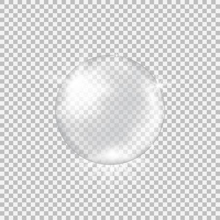 Ilustración de Transparent glass sphere with glares and highlights. - Imagen libre de derechos