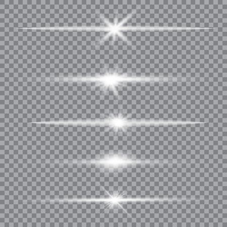 Ilustración de Vector set of glare lighting, twinkle lens flares. Transparent gradient stars, lightning flare. Magic, bright, natural effects. Abstract texture for your design and business. - Imagen libre de derechos