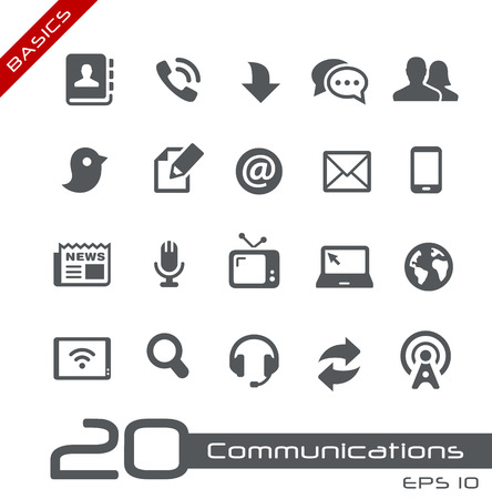Illustration pour Communications Icon Set -- Basics - image libre de droit
