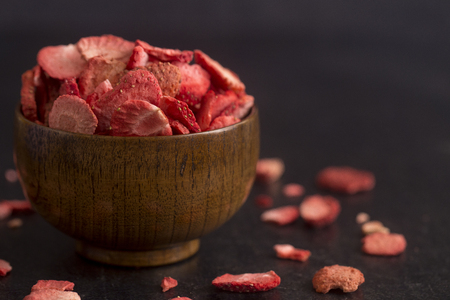 Photo for Freeze Dried Strawberries on a Slate Counter - Royalty Free Image