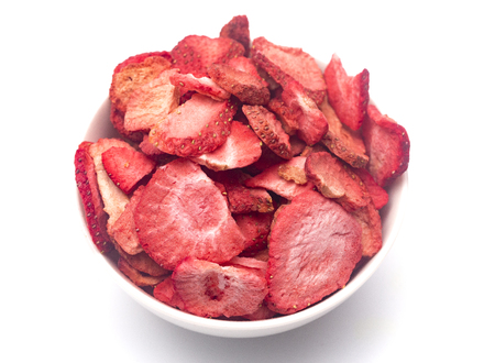 Photo for Freeze Dried Strawberries on a White Background - Royalty Free Image