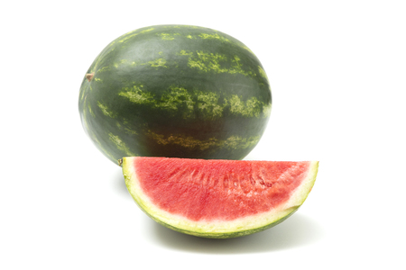 Photo for Fresh Seedless Summer Watermelon on a White Background - Royalty Free Image