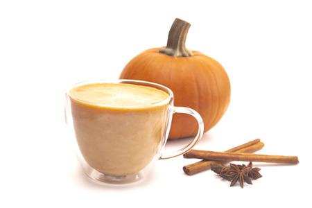 Foto de A Pumpkin Spice Latte on a White Background - Imagen libre de derechos