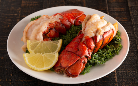 Foto de Two Broiled Lobster Tails on a Bed of Kale with Lemon Slices - Imagen libre de derechos