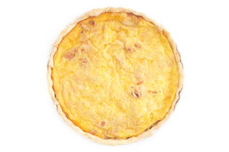 Photo for Whole Quiche Lorraine Isolated on a White Background - Royalty Free Image