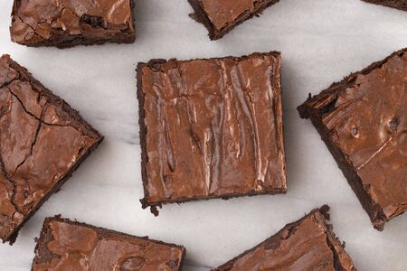Photo for Homemade Double Chocolate Brownies on a Marble Counter - Royalty Free Image