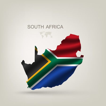 Illustration pour Flag of South African Republic to a country with a shadow - image libre de droit