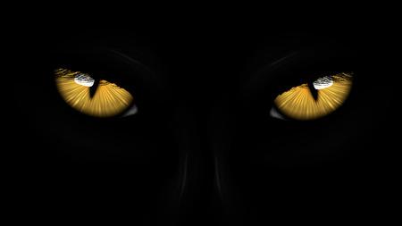 Illustration for yellow eyes black Panther on dark background - Royalty Free Image