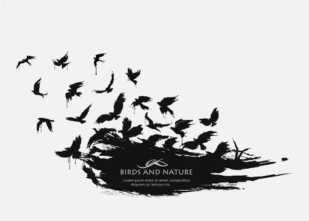 Ilustración de Brushstroke texture grunge with birds flying - Imagen libre de derechos