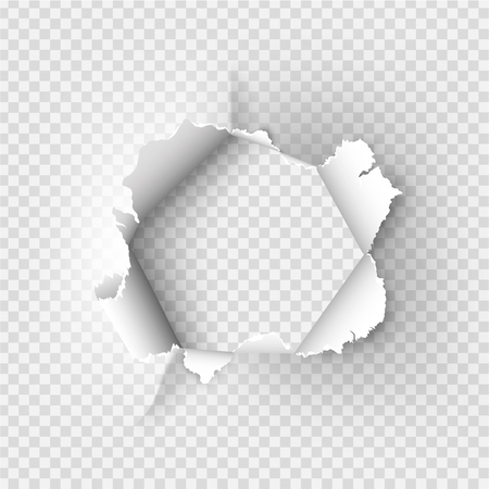 Illustration for ragged Hole torn in ripped paper on transparent background - Royalty Free Image