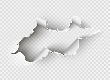 Ilustración de ragged Hole torn in ripped paper on transparent background - Imagen libre de derechos