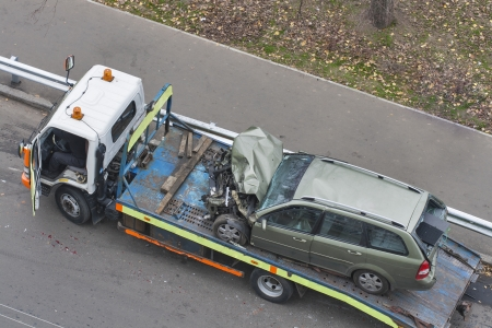 car broken during a road accident shipped to a car wrecker