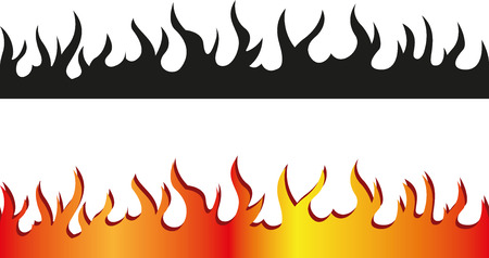 Illustration for Set of Seamless flame border - Royalty Free Image