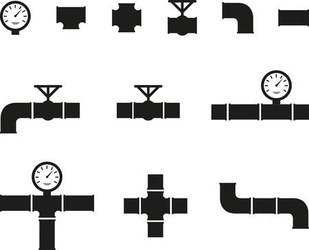 Illustration pour Set of black details pipes - image libre de droit