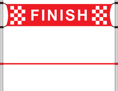 Illustration pour Red ribbon in finishing line - image libre de droit