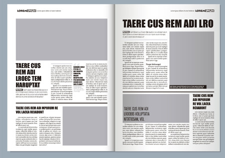 Illustration pour Traditional Graphical design Template newspaper, gray colors and A3 format - image libre de droit