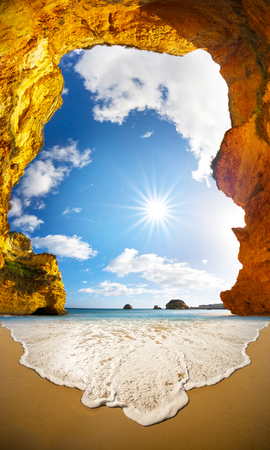 Photo for Famous beaches, cliffs and the sea in Lagos, Portugal attract many tourists and vacationers in the summer, and almost deserted in the winter, even though it is warm there - Royalty Free Image