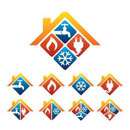 Ilustración de Plumbing, Heating, Cooling, Electrical Store and Service Logo - Imagen libre de derechos
