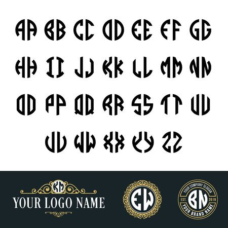 Illustration for Monogram circle font with 2 letters. Suitable as an initial logo and embroidery classic style, old vintage, art deco, hipster nuances. - Royalty Free Image