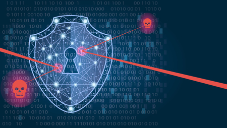 Foto de Cyber security concept: Shield on digital data background. Illustrates cyber data security or information privacy idea. Blue abstract hi speed internet technology.Protection concept. illustration - Imagen libre de derechos