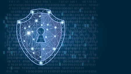 Foto de Cyber security concept: Shield on digital data background. illustration - Imagen libre de derechos