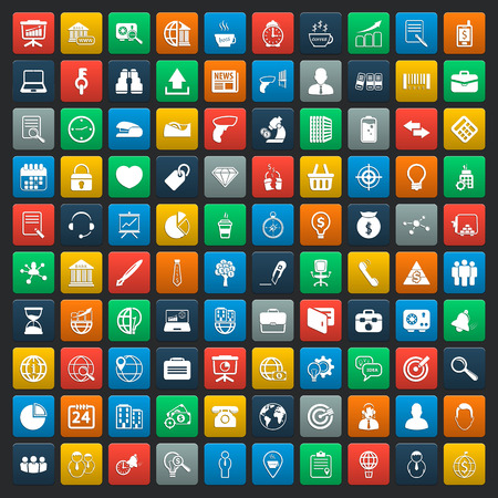 Illustration for business 100 icons universal set for web and mobile - Royalty Free Image