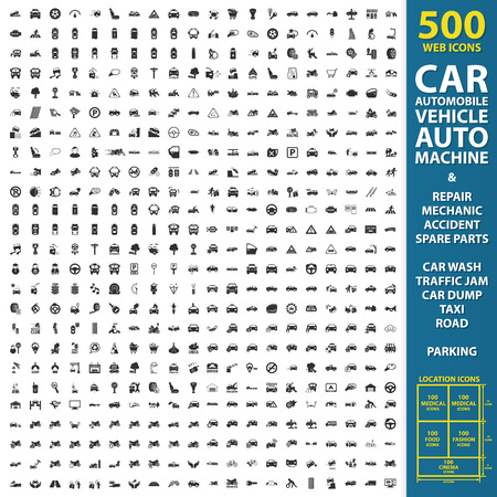 Photo for car, automobile, vehicle set 500 black simple icons. Auto, machine, repair, mechanic  icon designed for web and mobile. - Royalty Free Image