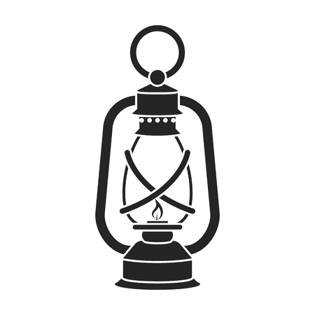 Illustrazione per Lantern icon in black style isolated on white background. Mine symbol vector illustration. - Immagini Royalty Free